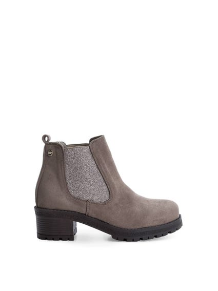 Brown Elastic Suede Ankle Boots