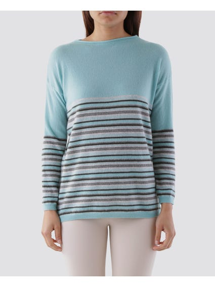 Blue Stripe High Neck Knit Top