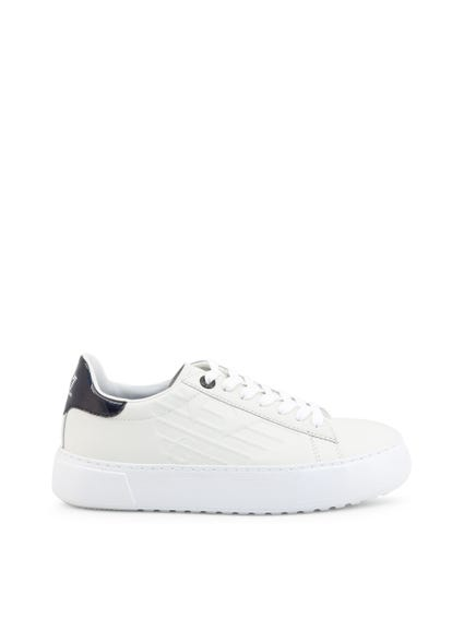White Embossed Logo Sneakers