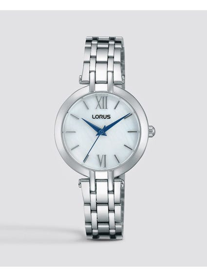 Silver Quarts Analog Stainless Steel Watch