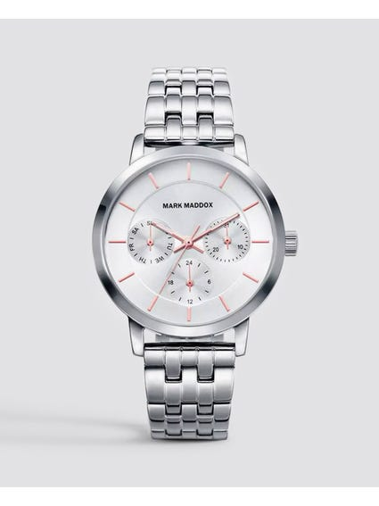 Silver Stainless Steel Chronograph Watch