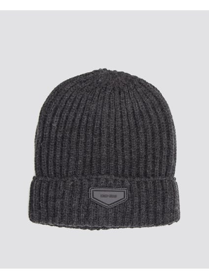 Grey Knitted Patch Logo Beanie