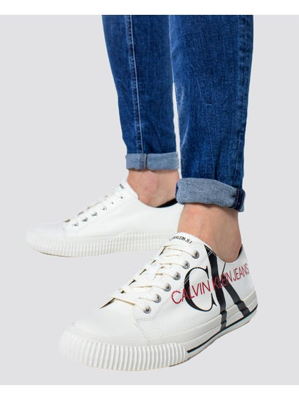 White Low Top Lace Up Sneakers