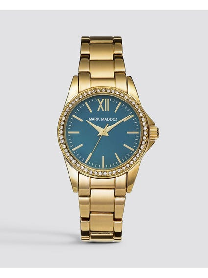 Gold Stone Bezel Analog Watch