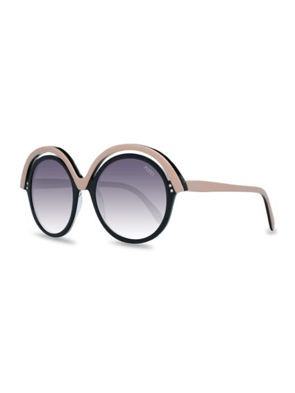 Brown Overlayed Round Frame Sunglasses