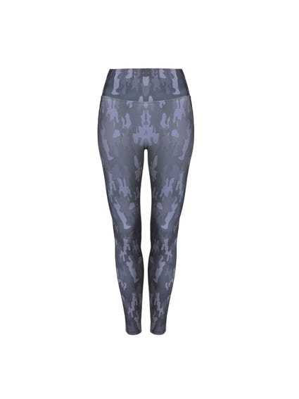 Blue Elastic Waistband Camo Print Leggings