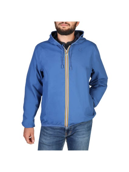 Blue Zip Hooded Drawstring Jacket