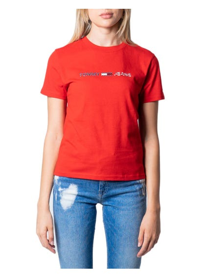 Red Crew Neck Logo Print T-shirt