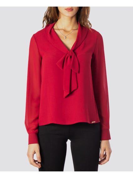 Red Bow V Neckline Tops