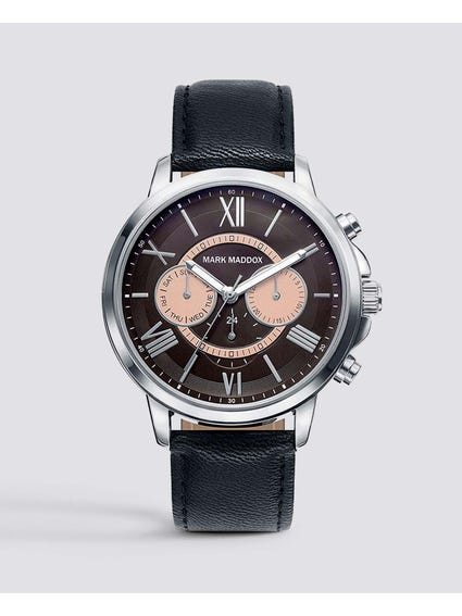 Multifunction Black Leather Watch
