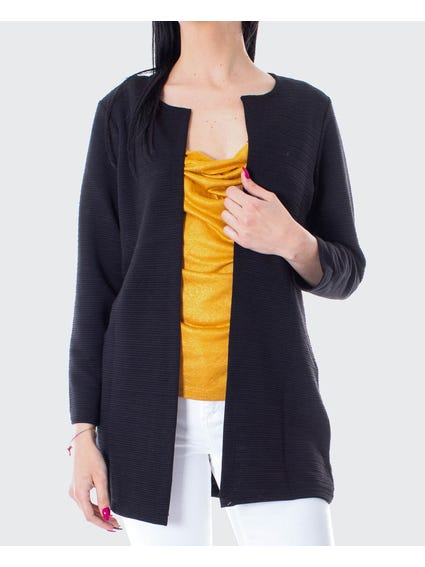 Black Pleated Open Front Cardigan