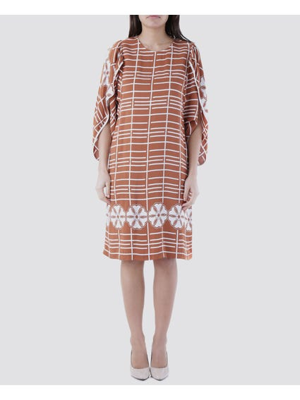 Brown Cut Out Sleeves Dress
