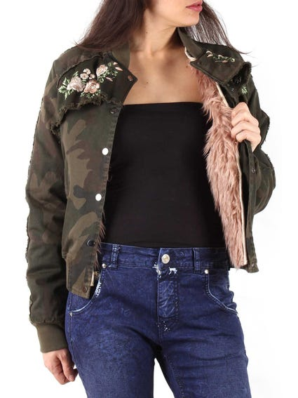 Camouflage  Button Fur Jacket