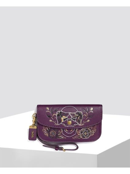 Purple Embossed Upper Clutch Bag