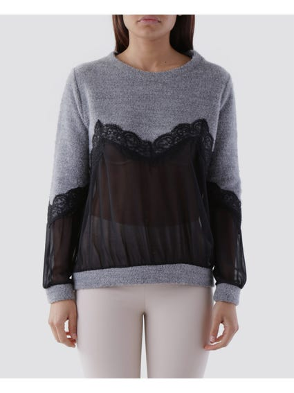 Mesh Inserted Long Sleeves Top