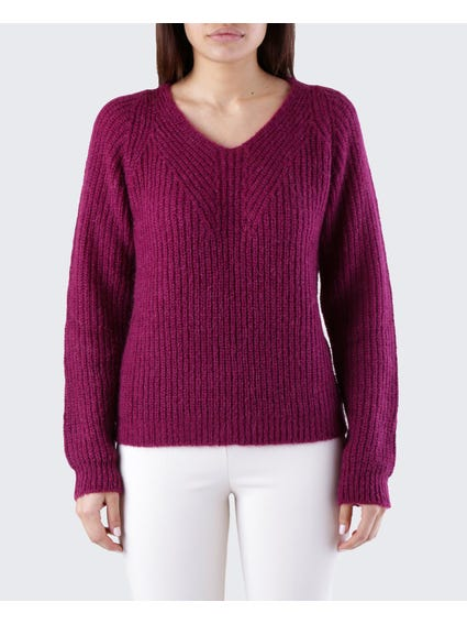 Purple Ribbed Sweater