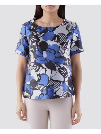 Geo Floral Pattern Short Sleeves Top