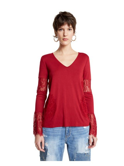 V Neck Lace  Long Sleeve Tops
