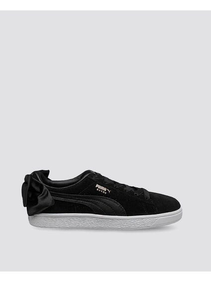 Black Suede Bow Varsity Sneakers