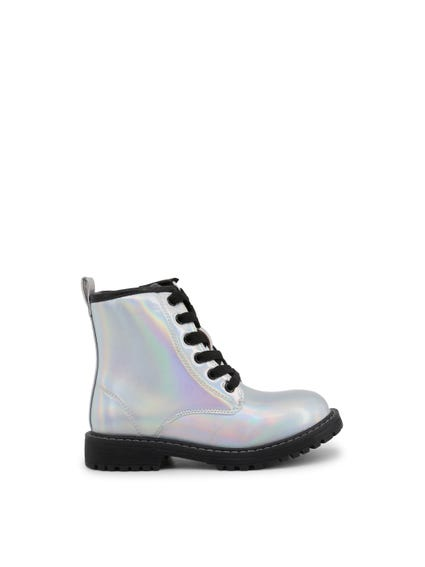 Metallic High Top Leather Kids Ankle Boots