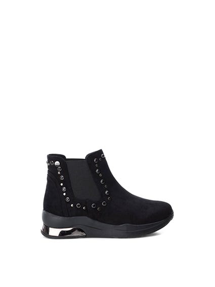 Black Elastic Gores Ankle Boots