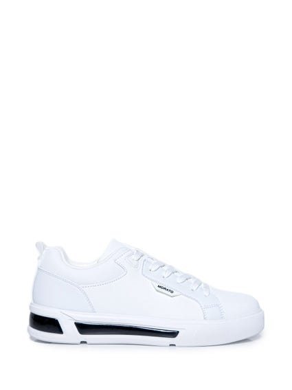 White Contrast Sole Lace Sneakers