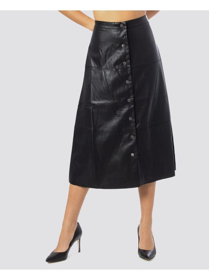 Jane Faux Leather Mid Skirt