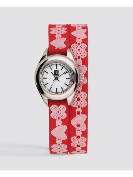 Red Rococo Analog Watch