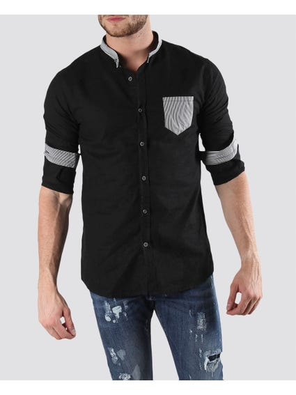 Full Black Shirt with Grey Stripes Design