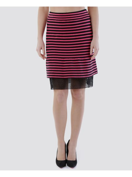 Pink Striped Elasticated Striped Skirt