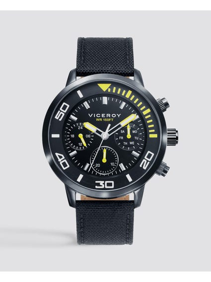 Chronograph Black Dial Leather Watch