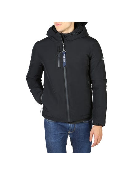 Blue Zipper Pocket Hood Jacket