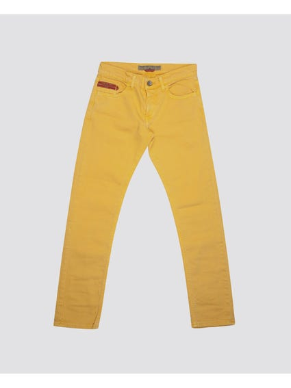 Yellow Plain Button Kids Trouser