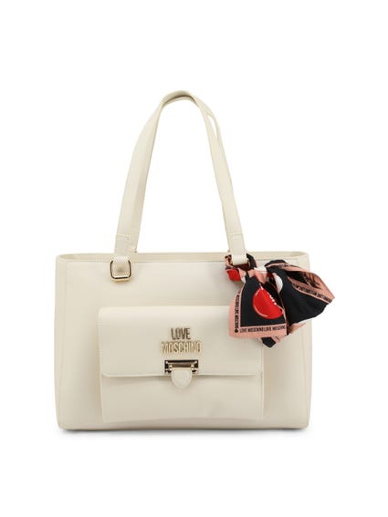 White 2 Handles Shoulder Bag