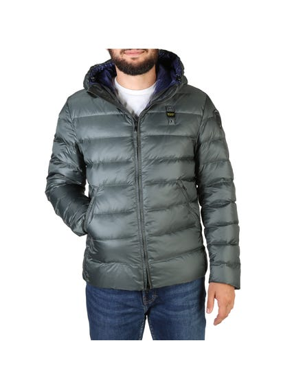 Grey Quilted Zipper Hooded Jacket
