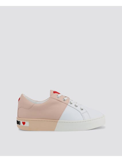 Beige Colorblock Smooth Leather Sneakers