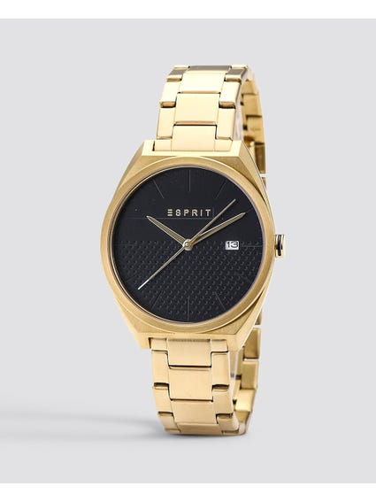 Gold Round Black Dial Stainless Steel Watch