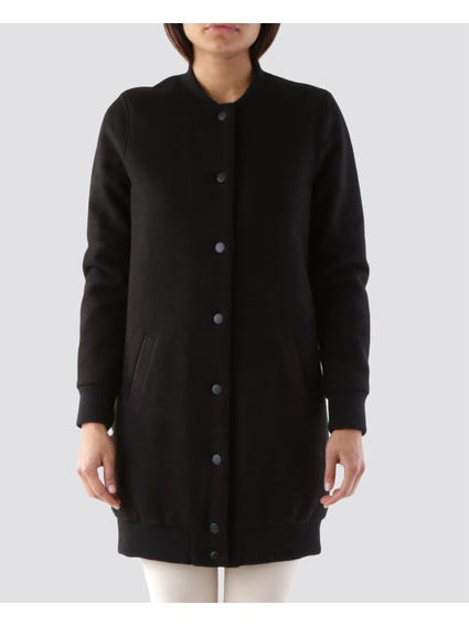 Black Slant Pocket Button Jacket