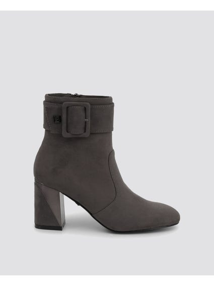 Smoke Buckle Pin Ankle Boots