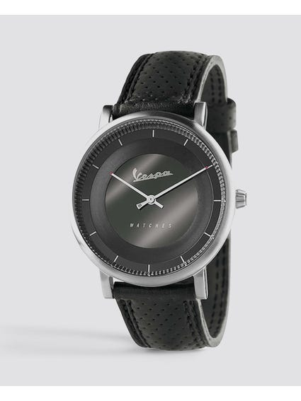 Classic Black Dial Leather Watch