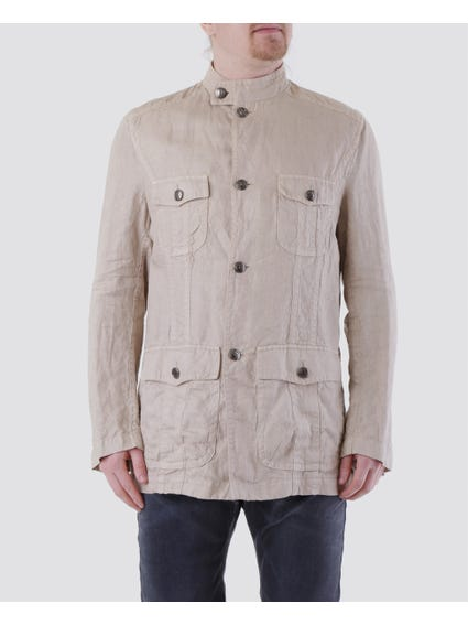 Beige Snap Button Collar Jacket with Four Front Pockets