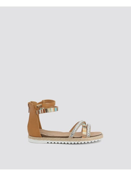 Brown Ankle Zipped Kids Sandals