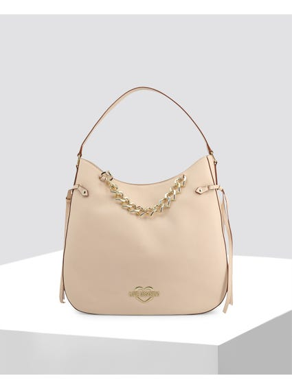 Beige Sophisticated Leather Shoulder Bag