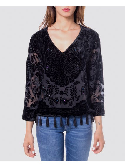 Black Embellished V-Neck Blouse