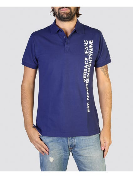 Blue Vertical Print Polo Shirt
