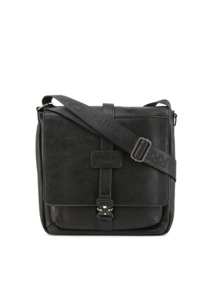 Black Leather Shoulder Strap Crossbody Bag