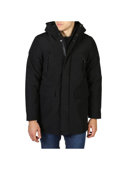 Black Button Hooded Pocket Jacket