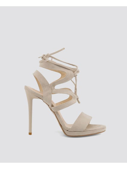 Beige Tie-Up Gladiator High Heel Sandals