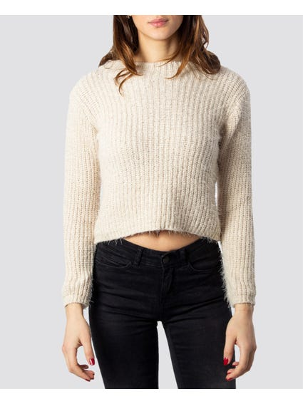 Cream Fluffy Cropped Knitwear