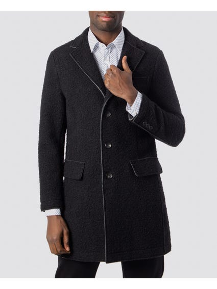 Black Textured Single Breasted Coat